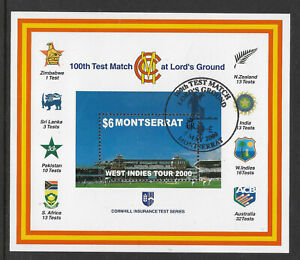 MONTSERRAT-2000-LORD-039-S-CRICKET-100th-CENTENARY-TEST-MATCH-Souv-Sheet-USED-No-2