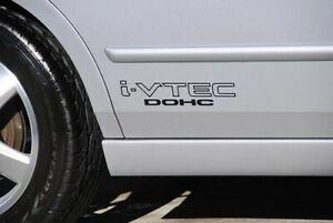 "i-VTEC DOHC (2 PK) 12"" BLACK emblem  Vinyl Sticker fits Honda Civic Decal Euro"