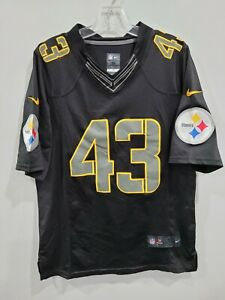 Rare Nike NFL Pittsburgh Steelers Troy Polamalu 43 Black Alternate Jersey Mens M
