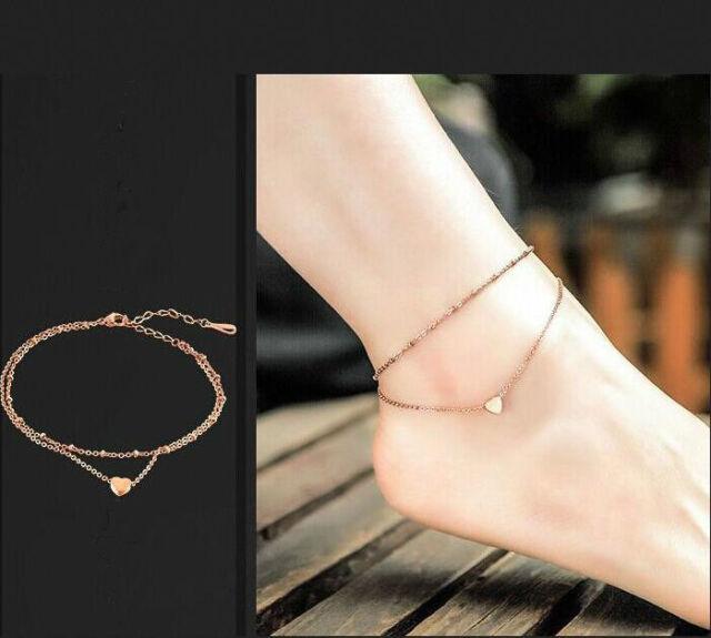 2x Women Crystal Rhinestone Love Heart Anklet Ankle Bracelet Chain Foot Jewelry Fashion Jewelry Jewelry & Watches