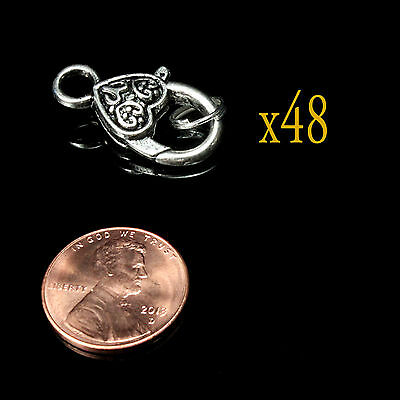 2-48 Tibetan Antique Silver Heart Celtic Design Lobster Claw Clasps Clips -shlc