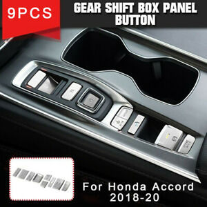 Interior Gear Shift Box Panel Button Cover Trim silve For Honda Accord 2018-2020