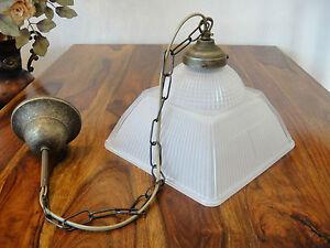 Deckenlampe-Jugendstil-Haengelampe-Messing-Antik-Pendelleuchte-Glas-Art-deco-Edel