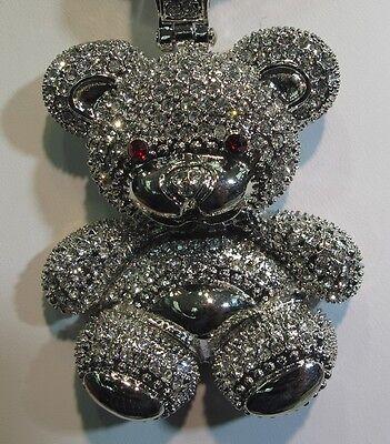 Men's Fashion Teddy Bear 5 CTW Simulated Diamond White Gold Finish Pendant
