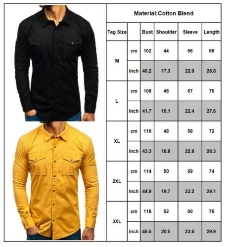 Men/'s Military Army Long Sleeve Shirts Blouse Lapel Work Casual Outdoor Shirt UK