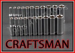 CRAFTSMAN-TOOLS-21pc-1-4-034-Dr-DEEP-6pt-SAE-amp-METRIC-ratchet-wrench-socket-set