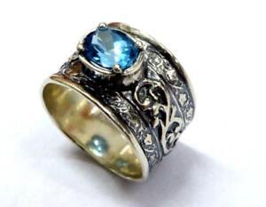 a3e328b4848 Image is loading Sterling-silver-ring-BOHO-Bohemian-design-Blue-Topaz-