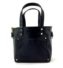 Innue Italian Black Leather Womens Tote & Tartan Reversible Handbag & Purse
