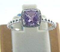 14 Karat White Gold 1.20 Ct Amethyst & 0.07ct Diamond Ring Size 7 1/4 D18 A
