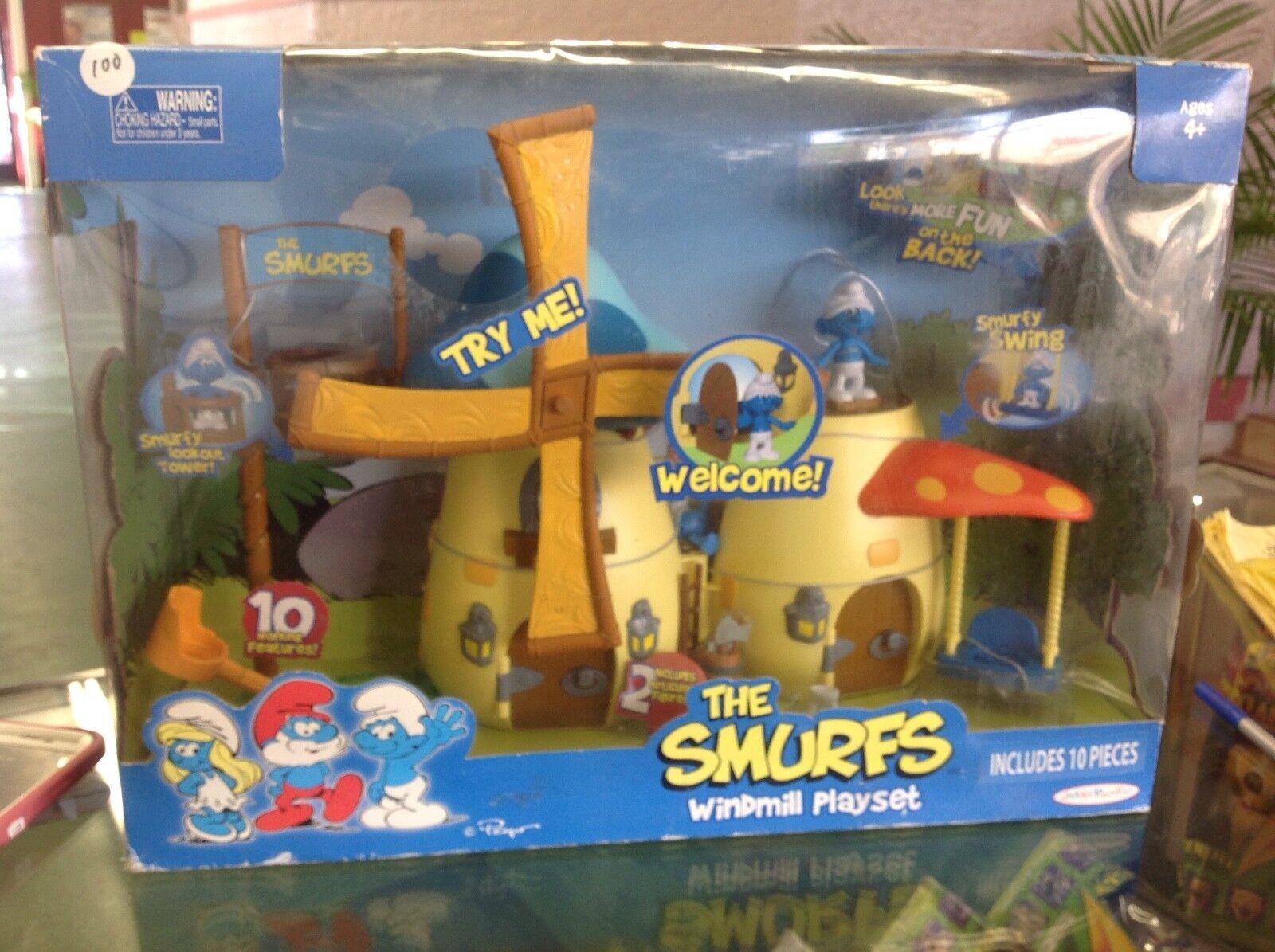 2009 Smurfs WINDMILL PLAYSET - with box - - Jakks Pacific
