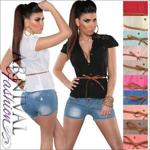 WOMENS-SHIRT-belt-SHORT-SLEEVE-BLOUSE-LADIES-casual-TOP-V-NECK-loose-summer-SEXY