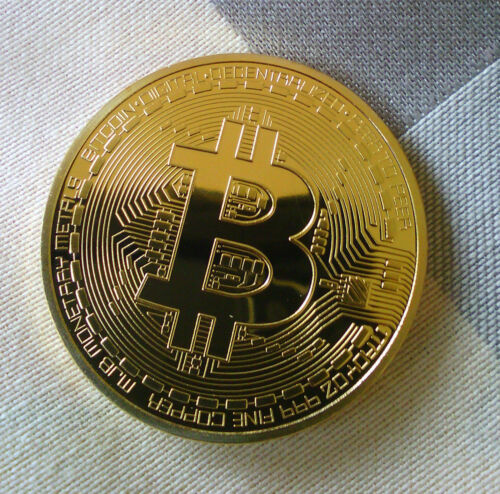 Premium !!!Gold Plated Physical Bitcoin in protective acrylic case FREE SHIPPING