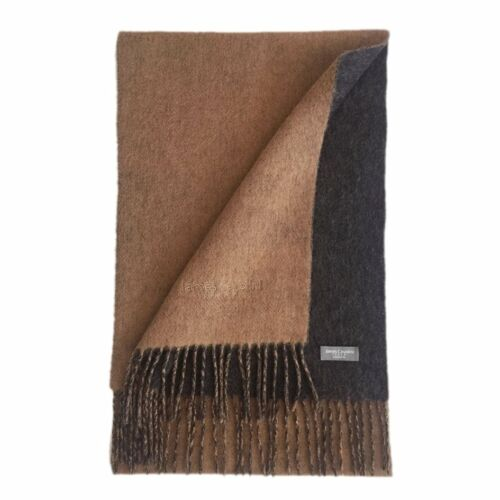 James Cavolini Italy Men/'s Cashmere Wool Double-Sided Camel Charcoal Scarf