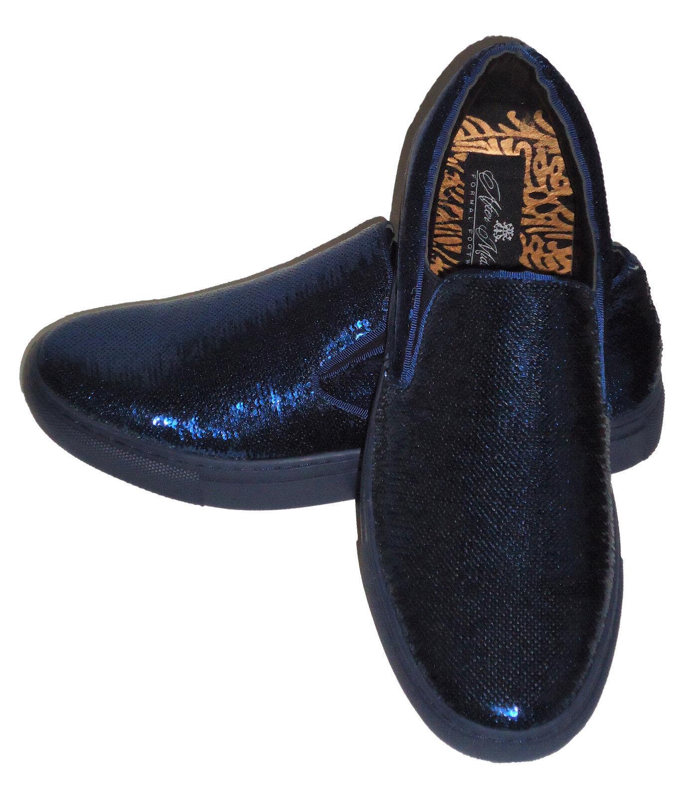 AM 6758 Uomo Fancy Dressy Slip On Rubber Sole scarpe da ginnastica Sparkling blu Sequins