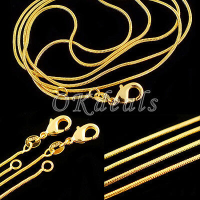 2015 HOT Elegant Wholesale Lots 18K Gold Plated Snake Chain Necklace 16-30 inch