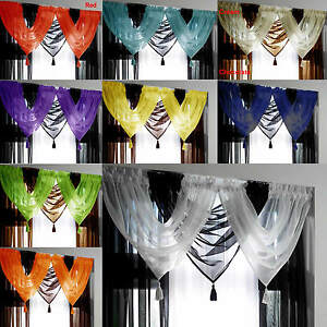 Tassled-Voile-Curtain-Swags-All-Colours-FREE-P-amp-P