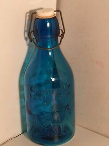 Vintage 1965 Crowford China 1 Quart Blue Milk Bottle Thatchers Dairy 1884