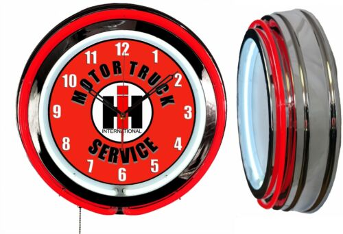 "International Motor Truck Service 19/"" Double Neon Clock Red Neon Man Cave Garage"