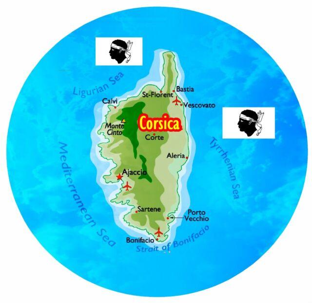 Corse Carte / Drapeau - Rond Souvenir Nouveauté AIMANT de Réfrigérateur