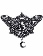 Restyle Geometric Occult Moth With Crescent Moon & Pentagram Witch Hair Clip