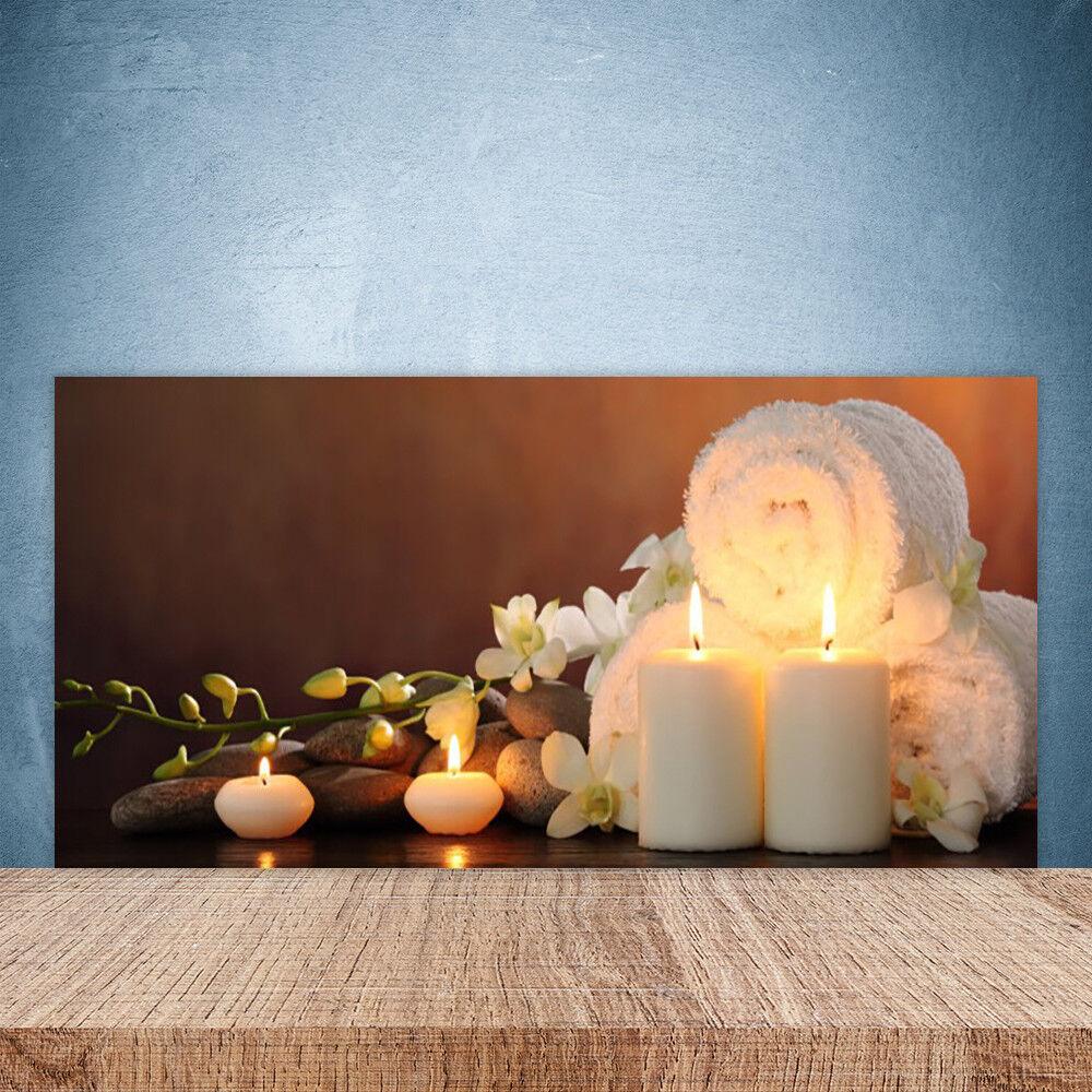Crédence de cuisine en verre Panneau Paroi 100x50 Art Bougies Serviette