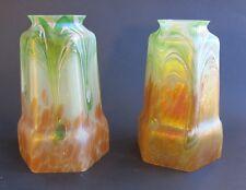 Fine Pair of BOHEMIAN ART NOUVEAU Glass Lamp Shades  c. 1910  antique loetz
