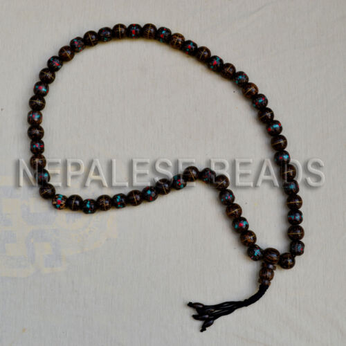 PMS18 Tibetan Nepalese Buddhist Prayer Coral Turquoise Wood Beads 108 Beads Mala