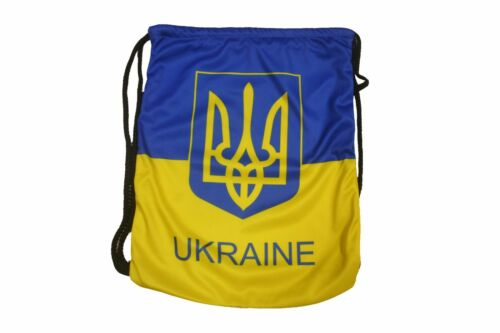 14 x 18 Inches . Ukraine With Trident Country Flag Drawstring Knapsack Bag . High Quality . New