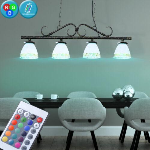 LED Decken Hänge Lampe RGB Fernbedienung Alabaster Glas Leuchte schwarz rost