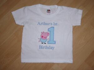 Image Is Loading Personalised Embroidered George Pig First 1st Birthday T
