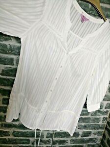 Monsoon-Chemisier-UK-14-EUR-42-en-coton-blanc-Blouse-haut-tunique-boutonnee-avec-cordon-de-serrage