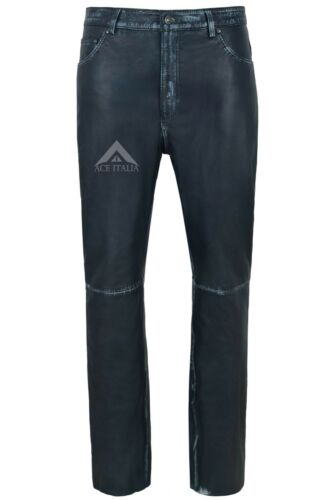 Men/'s Leather Pantaloni da moto blu scuro vintage pelle di agnello pelle Jean Stile 501