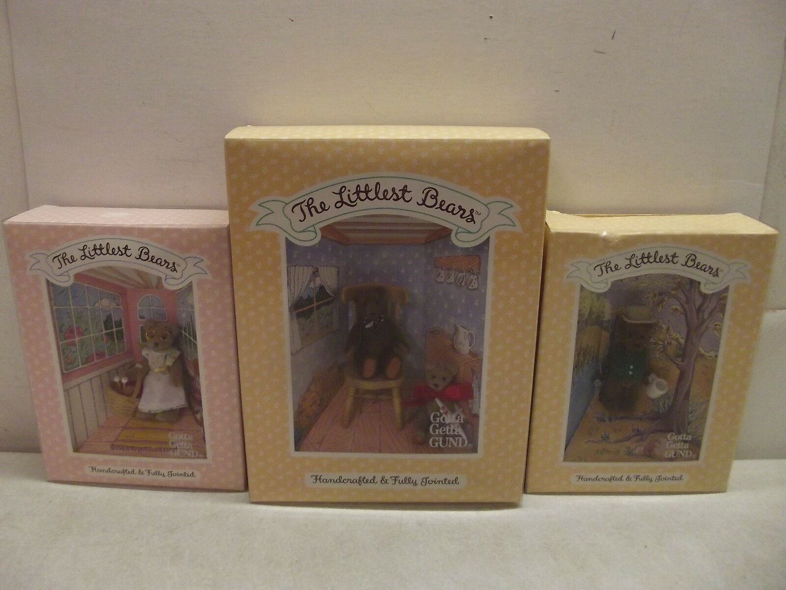 GUND THE LITTLEST BEARS MINIATURES FATHER GRANDMOTHER GRANDFATHER & GRANDSON NIB