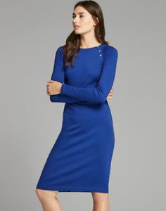 NWT Woherren Rib-Knit Stretch Cotton Dress by Lauren Ralph Lauren Blau Sz. S or M