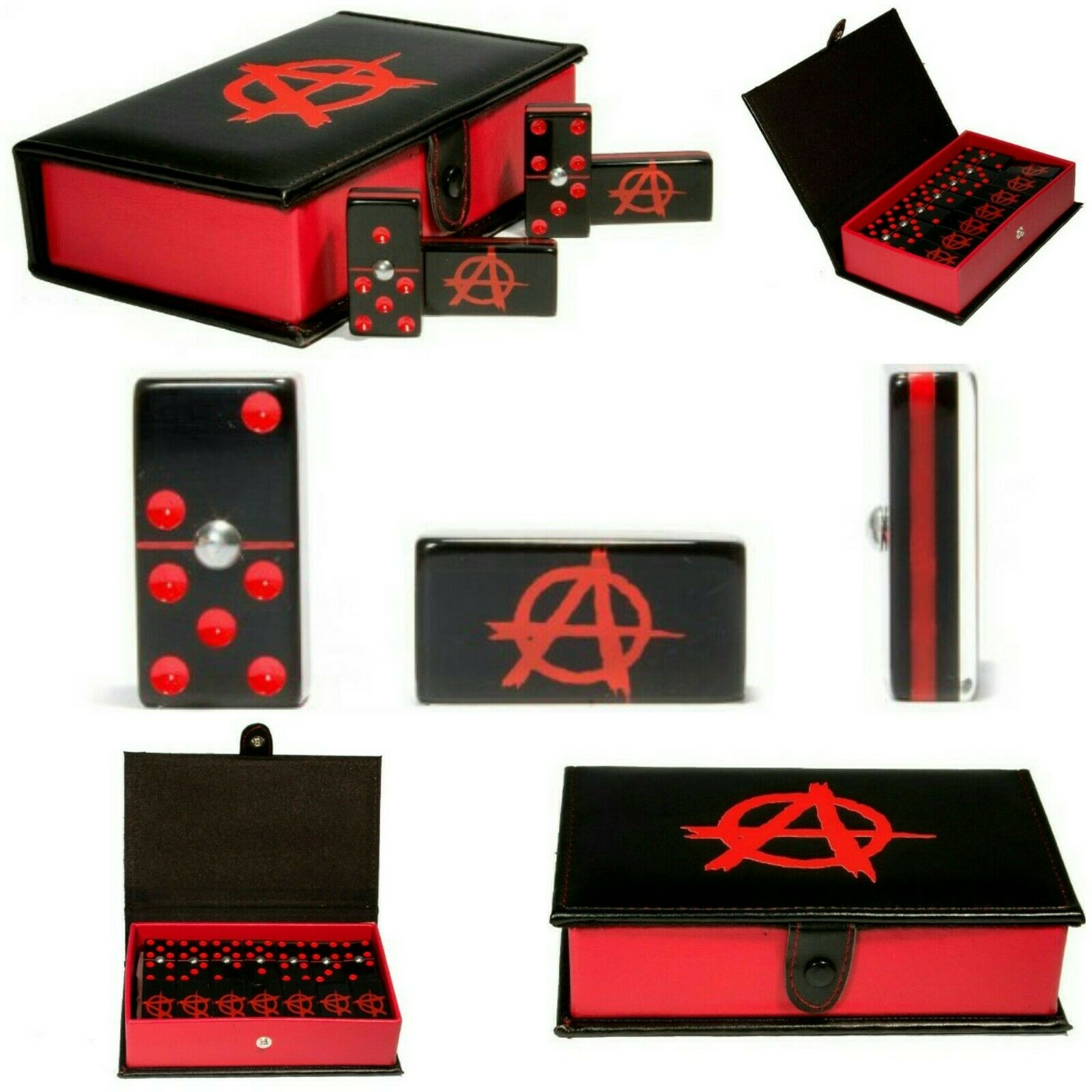 Anarchy Domino Game Set Double 6 Dominoes Man Men Hot Gift Man Cave SOA Samcro