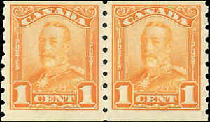 Mint-Canada-F-Scott-160-COIL-PAIR-1c-1929-KGV-Scroll-Stamp-Never-Hinged