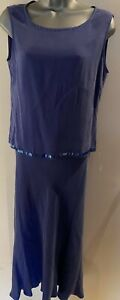 Country-Casuals-Petite-Blue-Silk-Top-amp-Maxi-Skirt-Set-Size-10-With-Bead-Detail