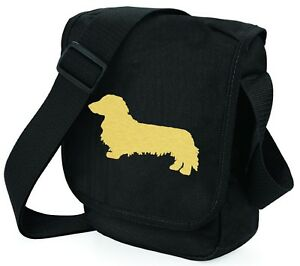 Long-Haired-Dachshund-Bag-Metallic-Gold-Silver-on-Black-Shoulder-Bags-Xmas-Gift