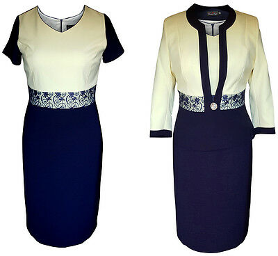 NAVY LEMON MOTHER OF THE BRIDE GROOM 2 PIECE FORMAL OUTFIT JACKET DRESS SIZE 18