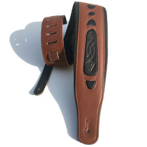 Echtes-Rind-Leder-Gitarren-Gurt-fuer-Elektrisch-Bass-Verstellbare-Gepolstert-N249
