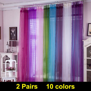 2x Plain Net Voile Curtains Top Panels Rod Room Fly Screen Many