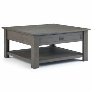 Simpli Home Monroe 38 Square Storage Coffee Table In Farmhouse Gray 840469040656 Ebay