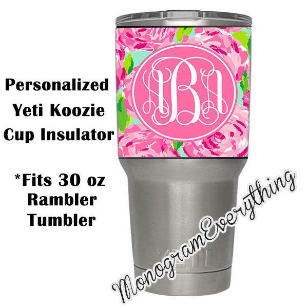 Personalized Lilly Rose Monogram Cozie Insulator for Yeti 30 oz RAMBLER TUMBLER