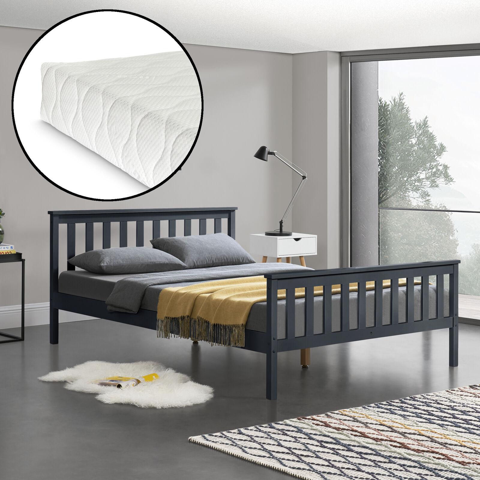 [en.casa] Holzbett 140x200cm mit Matratze Bett Doppelbett Kiefer Jugendbett Grau