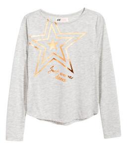 Details zu H&M Shirt Langarmshirt Gr.134140,146152,158164,170 HellgrauStern schwarz NEU