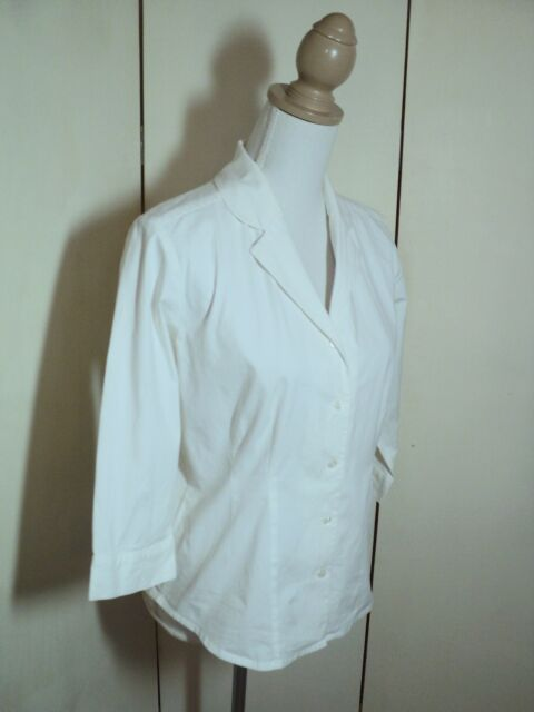 laura ashley white shirt cotton  stretch