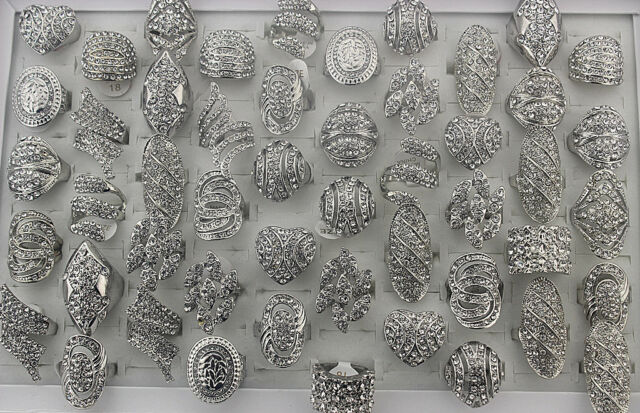 Wholesale mixed Lots 30pcs pave clear rhinestone Lady's rings Fashion jewelry