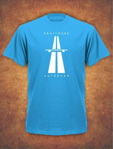 KRAFTWERK AUTOBAHN RETRO TECHNO Mens T-Shirt Sky Blue