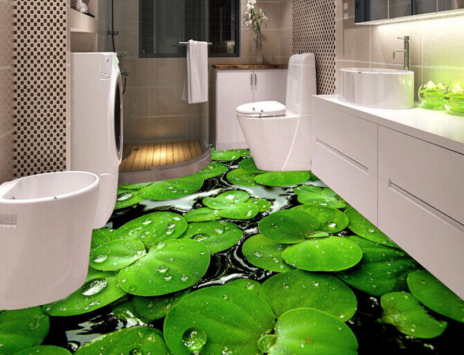 3D Green Leaf Pond 90 Floor WallPaper Murals Wall Print 5D AJ WALLPAPER UK Lemon