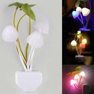 New Cute Mini Romantic Mushroom Light Sense Control Led Night Wall Lamp Creative